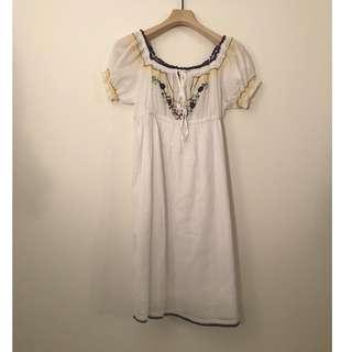 🚚 日本古著|墨西哥刺繡泡泡袖短袖洋裝x白色