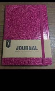 Typo pink glitter notebook
