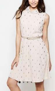 ASOS - Yumi belted Skater Dress in Cactus Foil Print