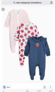 Next Baby sleepsuits 2pcs 9-12mo