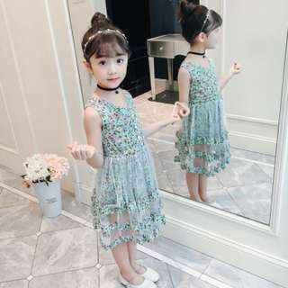 Light Blue Girls Floral Dress Summer Lace Cake Dress