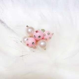 粉嫩珍珠可調式戒指