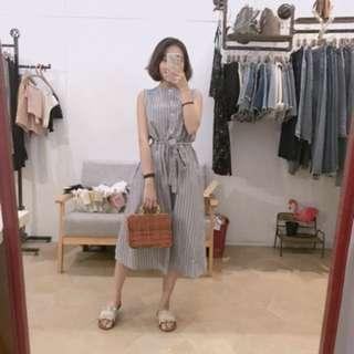 藍白條紋背心洋裝