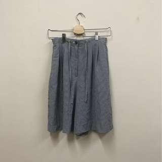 日本古著 無印風小格紋鬆緊帶短褲
