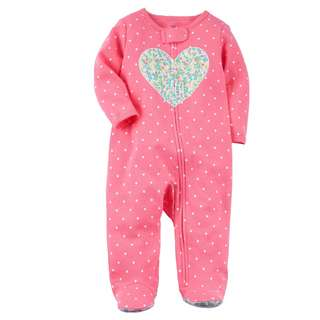 BN 6m Carters Zip-Up Heart Cotton Sleep & Play