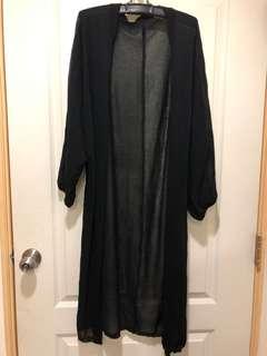 黑色透膚長罩衫