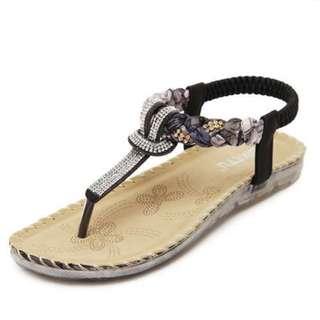 女裝水鉆平底涼鞋/Women's Rhinestone Flat Sandals