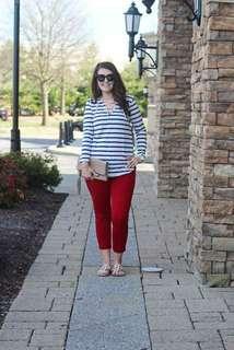 Stripe Top & Pants Plus Size Terno