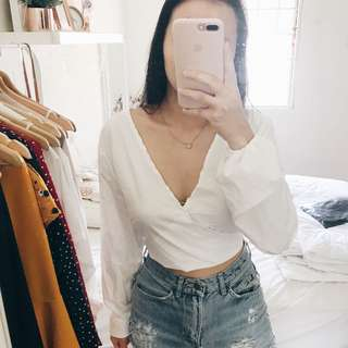 White Low Back Self Tied Top