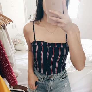 Stripes Buttoned Crop Top
