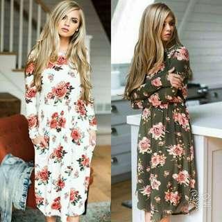 🍃Long Sleeve Floral Pocket Dress