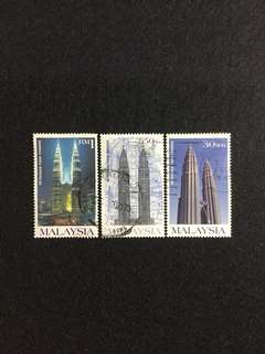 1999 Petronas Twin Towers 3 Values Used Set
