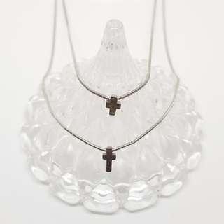 雙十字架 頸鏈 項鍊 兩條鏈一個扣