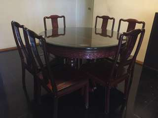 花梨木餐枱餐椅 Rosewood Dining Set (6 Chairs)