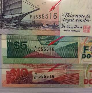 3 pcs of Singapore Ship $2,$5,$10 Matching Serial Number 555516 UNC
