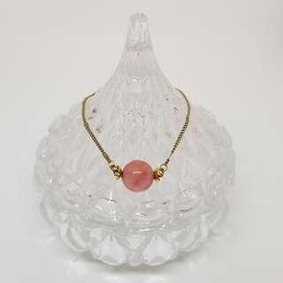 粉紅珠金鏈 手鍊