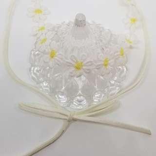 向日葵 白色 蝴蝶結 choker 短頸鍊 短項鍊