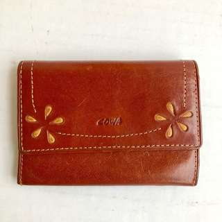 cowa小花牛皮零錢包+卡夾 二手