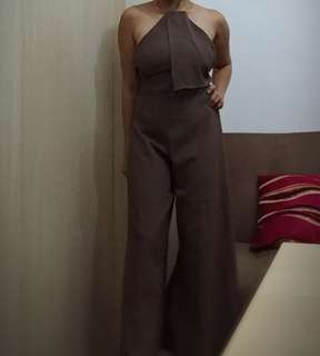 Backless brown jumpsuit