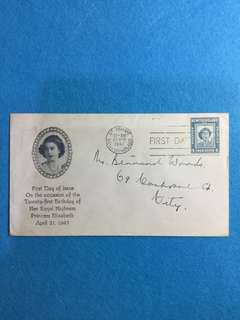 1947 Newfoundland HRH Princess Elizabeth 21st Birthday Commemorative Cover