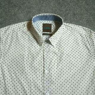 Kemeja BRATFORD Polkadot Shirt Long Sleeve Size L