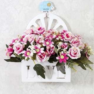 🚚 仿真假花掛籃套裝掛牆柵欄牆壁飾吊籃室內掛壁掛擺設牆面裝飾花藝