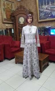 Dress brukat kombinasi batik modis S