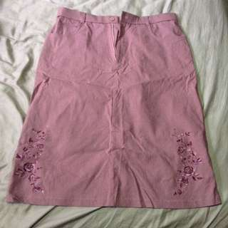 Maroon Embroidered Stretchable Skirt