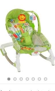 Fisher Price Infant to Toddler Portable Rocker- Green Safari