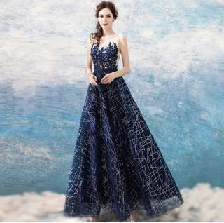 Galaxy Shimmer Long Gown Evening Dinner Dress (Rent)