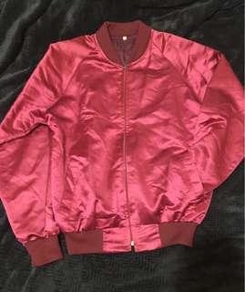 Red Satin Bomber Jacket
