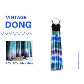 🚚 | 咚 咚 Vintage |日本古著- 小日石細肩長裙洋裝