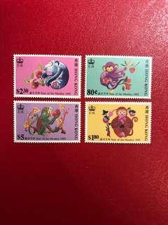 香港郵票-生肖猴年(第二輪)郵票一套