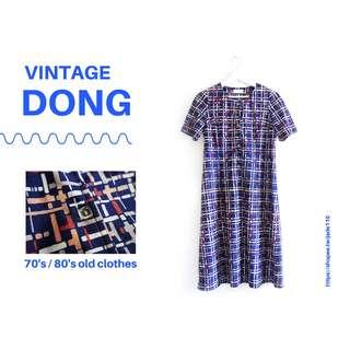 🚚 | 咚 咚 Vintage |日本古著-暗礦藍時空軸短袖洋裝
