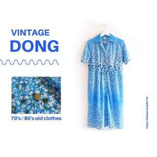 🚚 | 咚 咚 Vintage |日本古著-艾蒿天空短袖洋裝