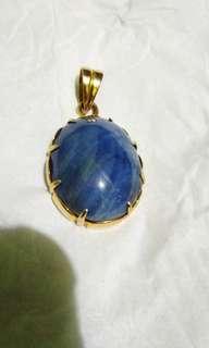 Liontin Blue Safir Birma Ikatan Emas