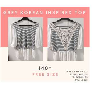 Grey Korean Inspired Top