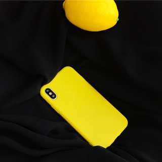 檸檬黃素色單色款手機殼蘋果iPhone x/6s/7/plus