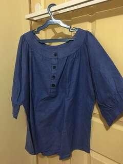 Plus size soft denim blouse
