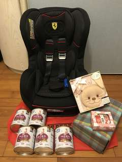 🚚 Ferrari 法拉利汽車兒童安全座椅(107年1月製造)及贈品4樣