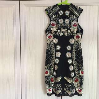 Reduced ⚡️BN Needle & thread floral embellished sequins beaded sheath dress - Black