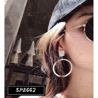 【Her Majesty的秘密花園】優雅氣質圓形水鑽銀針耳墜耳環耳飾SPE662