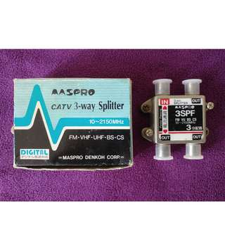 Aspro CATV 3-way Splitter 1開3 FM VHF UHF BS CS