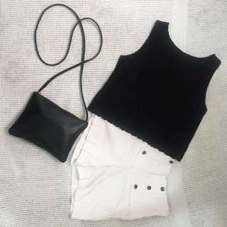 XS-S Black Flower-patterned Top