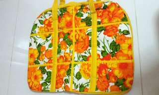 Hand Made Quilt Patchwork Tote / Shopping Bag - Flower Design