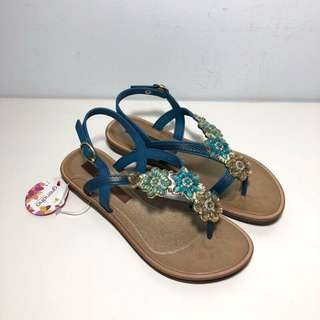 🚚 Grendha 巴西夾腳涼鞋 巴西尺寸33/34(粉彩晶鑽花朵時尚夾腳涼鞋-藍色)