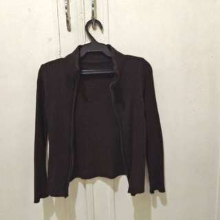 Fitted brown office jacket