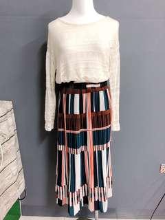 🚚 彩條細百褶裙