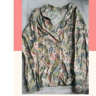 Green Floral Long Sleeves