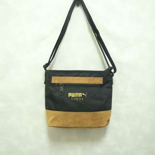 (保留)三件7折🎊 Puma 側背包 肩背包 斜背包 麂皮 黑咖啡 燙金logo 老品 極稀有 復古 古著 Vintage